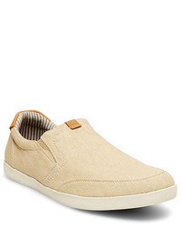 Beige Canvas Slip-on Sneakers