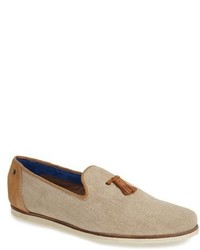 Beige Canvas Tassel Loafers