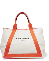 Balenciaga Cabas Leather Trimmed Canvas Tote Beige