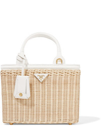 Prada Midollino Small Leather Trimmed Canvas And Wicker Tote Beige