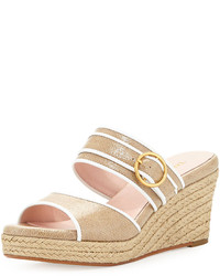 Beige Canvas Wedge Sandals