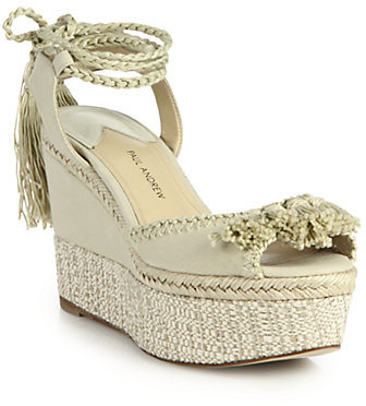 37cffe36f8 Paul Andrew Patmos Canvas Ankle Tie Espadrille Wedge Sandals, $695 ...