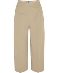 Agnona Cropped Stretch Cotton Piqu Wide Leg Pants