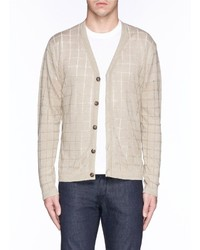 Façonnable Faonnable Check Open Work Stitch Linen Cardigan