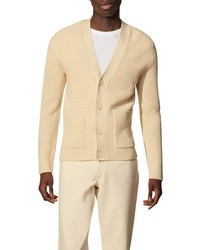 Sandro Ribbed Wool Blend Cardigan Sweater