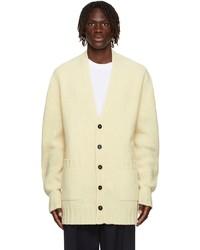 Jil Sander Yellow Wool Ribbed Cardigan