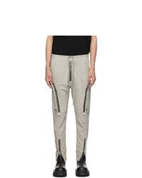 Rick Owens Beige Leather Bauhaus Cargo Pants