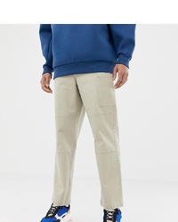 ASOS WHITE Tall Cargo Trousers In Beige Heavyweight Twill Pepper