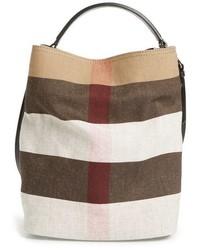 Beige Check Canvas Bucket Bag
