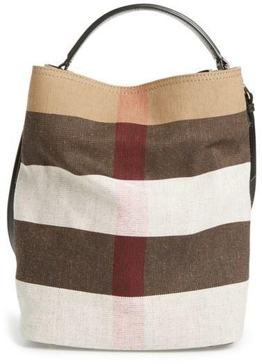 b7becdfb17 Burberry Medium Susanna Mega Check Jute Cotton Bucket Bag, $795 ...