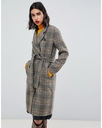 Mango Check Clean Coat In Brown