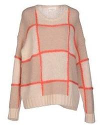 Beige Check Crew-neck Sweater