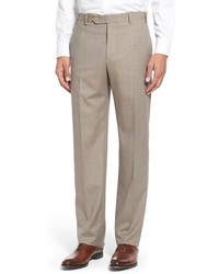 Beige Check Dress Pants