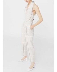 Mango Long Linen Blend Jumpsuit