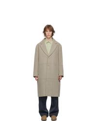 Beige Check Overcoat