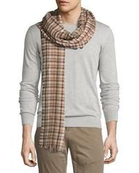 Loro Piana Regent Check Cashmere Silk Scarf