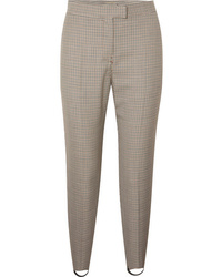 Burberry Checked Wool Blend Slim Leg Stirrup Pants