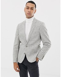 ASOS DESIGN Skinny Wool Mix Blazer In Mini Stone Check