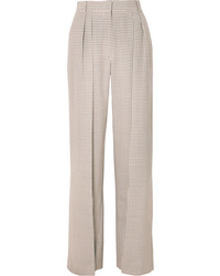 Fendi Pleated Checked Wool Wide Leg Pants