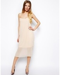 Soft chiffon midi cami dress nude medium 95264