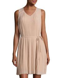 Pleated chiffon shift dress beige medium 966481