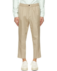 AMI Alexandre Mattiussi Beige Elasticized Waist Cropped Fit Trousers