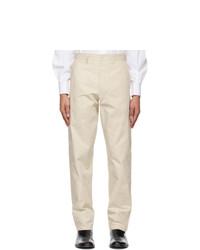 Maison Margiela Off White Cotton Chino Trousers