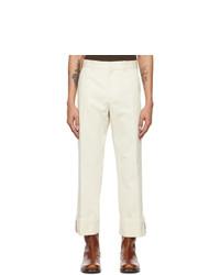 Dries Van Noten Off White Cotton Trousers