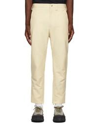 Jil Sander Off White Cotton Zipped Ankle Trousers