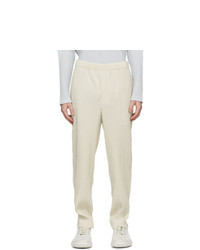 Homme Plissé Issey Miyake Off White Pleats Bottoms 2 Trousers