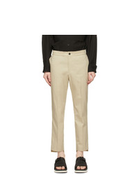 Solid Homme Taupe Elastic Waist Trousers