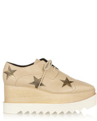 Beige Chunky Leather Oxford Shoes