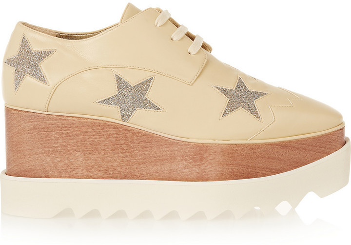 804ef7cfeb7c ... Stella McCartney Faux Leather Platform Brogues Neutral ...
