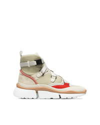Chloé Beige Grey And Red Sonnie Suede Leather And Mesh High Top Sneakers