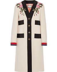 Gucci Appliqud Grosgrain Trimmed Wool Coat Ecru