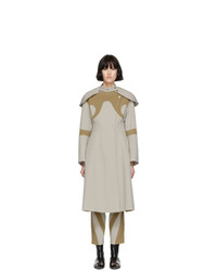Kiko Kostadinov Beige And Tan Shoulder Guard Coat