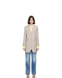 MM6 MAISON MARGIELA Beige Wool Lapel Less Overcoat