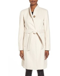 Belted wool blend stand collar coat medium 366104