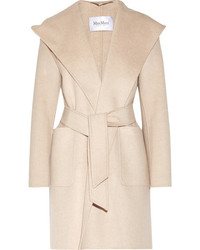 Max Mara Hooded Cashmere Coat Beige