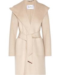 Max Mara Hooded Cashmere Coat Beige