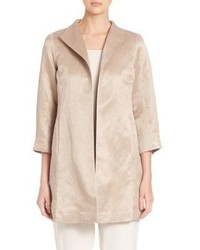 Eileen Fisher Organic Linen Silk High Collar Coat
