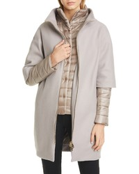 Herno Wool Blend Cocoon Coat With Removable Sleeves Bib