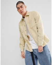 Beige Corduroy Long Sleeve Shirt