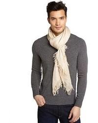 Beige mini double g print cotton blend lightweight scarf medium 84972