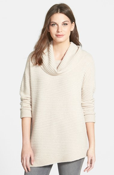 Nordstrom Collection Zigzag Ribbed Cowl Neck Cashmere Sweater ...