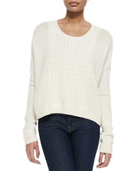 Alice + Olivia Scoop Neck Open Weave Sweater