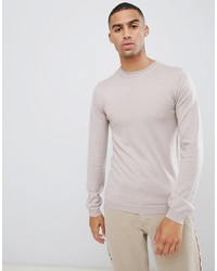 ASOS DESIGN Asos Muscle Fit Merino Wool Jumper In Oatmeal