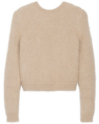 Givenchy Beige Angora Blend Sweater With Elasticated Back Band Medium