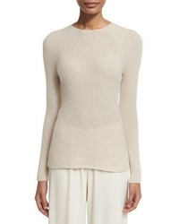 The Row Blanca Ribbed Cashmere Sweater Light Beige