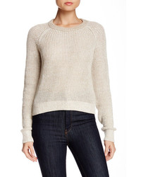 Theory Brombly Cropped Linen Blend Sweater